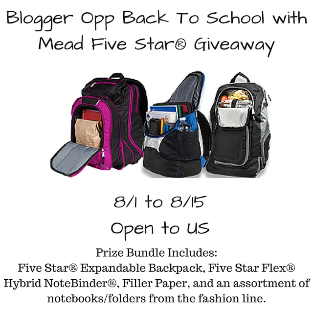 Blogger Opp: Back To School with Mead Five Star® Giveaway